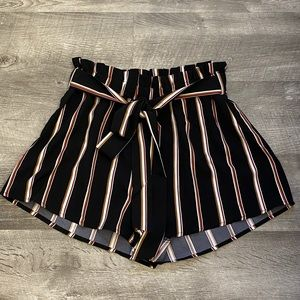 SHEIN Striped Paperbag Waist Belted Shorts SzS new